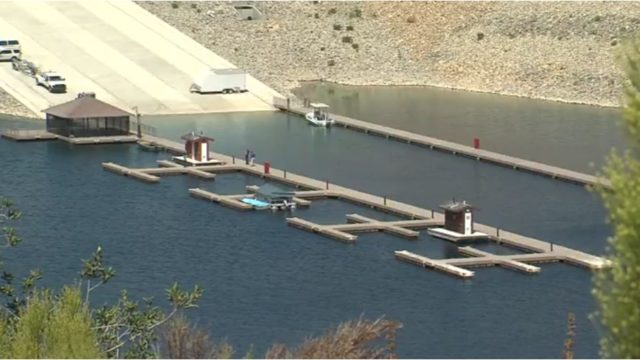 The new boat dock at San Vicente Reservoir. Courtesy City of San Diego