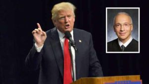 Donald Trump at his San Diego rally in May was critical of Judge Gonzalo Curiel (inset). Photo by Chris Stone