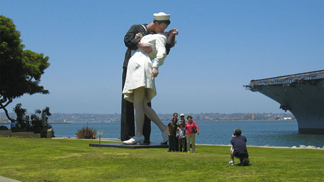 "The statue ""Unconditional Surrender,"" more popularly known as the ""Kiss,"" when first seen in San Diego in 2010. Courtesy Port of San Diego"