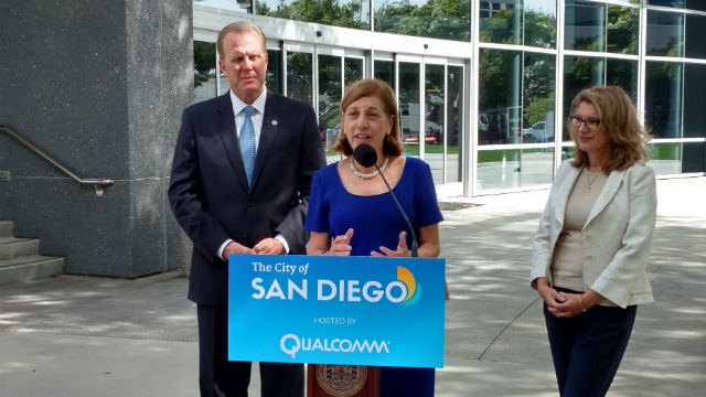 City Council candidate Barbara Bry (center) with Mayor Kevin Faulconer and Intuit's Whitney MacDougall at Qualcomm's headquarters. Photo by Chris Jennewein