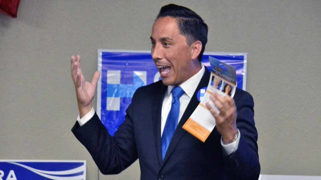 Councilman Todd Gloria made energetic pitch for local Democratic candidates. Photo by Ken Stone