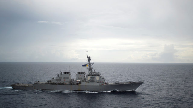 The guided-missile destroyer USS Decatur operates in the South China Sea on October 13. Courtesy Diana Quinlan/U.S. Navy