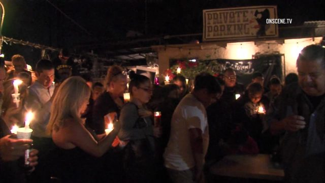 A vigil Tuesday night for victims Andre Banks and Francine Villalobos in Los Angeles. Courtesy OnScene.TV