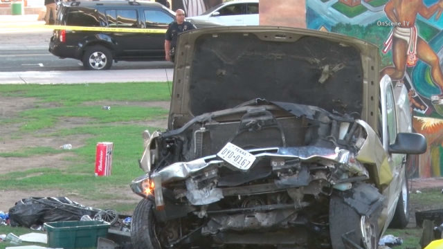 The car plunged into a crowd of festival-goers in Chicano Park. Photo Credit: On Scene TV.