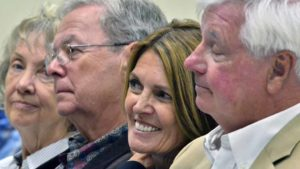 Town Hall-goers react to Denise Gitsham at Poway Community Park Auditorium. Photo by Ken Stone