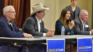 Flanking Denise Gitsham, from left, were Poway City Councilman John Mullin, Mayor Steve Vaus and Councilman Barry Leonard. Photo by Ken Stone