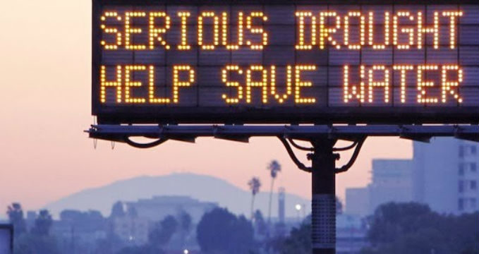 A drought warning sign on a California freeway. Courtesy Caltrans