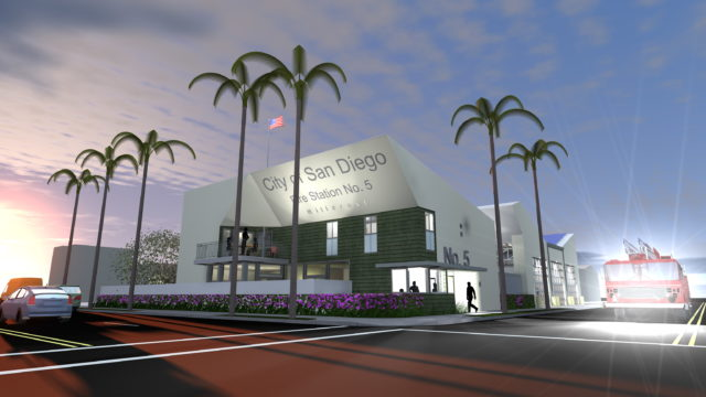 An architectural rendering of the new fire station. Courtesy City of San Diego.