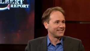 """James Fowler of UCSD on """"The Colbert Report"""" in 2010. Image via cc.com"""