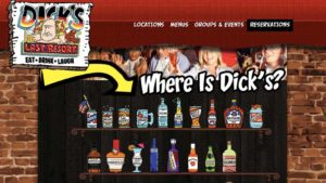 Bottle representing Dick's Last Resort in San Diego is sixth from left on top row in January 2016 view of homepage. Image via archive.org