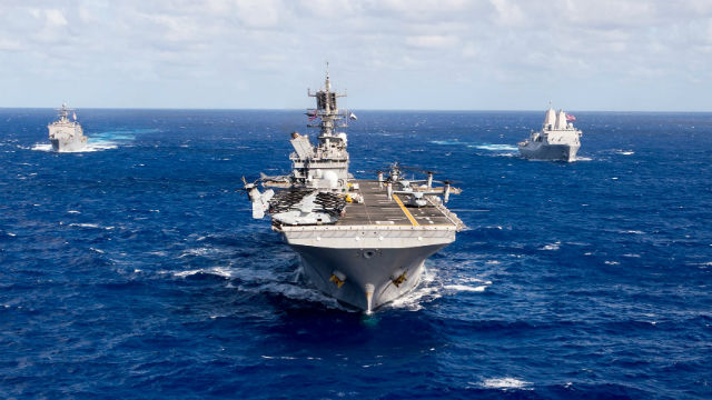 The USS Makin Island leads the USS Comstock (left) and USS Somerset in the Pacific. Navy photo