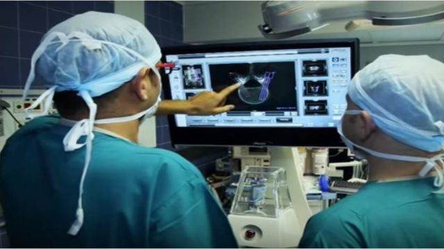 Doctors prepare for a robotic back surgery. Courtesy Mazor Robotics