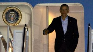 President Barack Obama gets off Air Force One at USMC Miramar to attend a fundraising event in La Jolla. Photo by Chris Stone