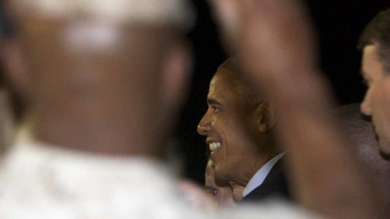 A Marine takes a photo while President Barack Obama greets military guests at USMC Miramar. Photo by Chris Stone
