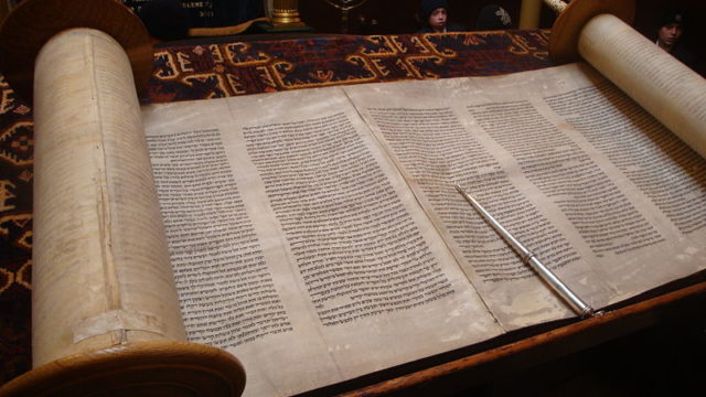 A Jewish Torah scroll which contains the first five books of the Bible in Hebrew. Photo by Lawrie Cate via Wikimedia Commons