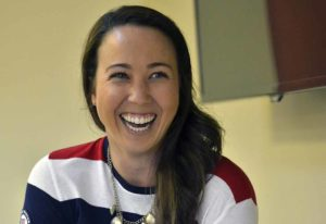 Briana Provancha told the Southwestern Yacht Club about her Olympic experience. Photo by Chris Stone