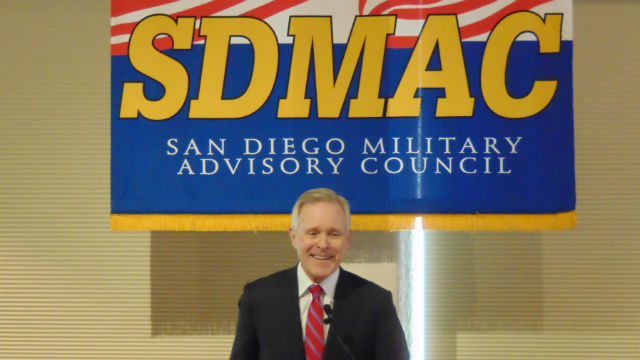 Ray Mabus speaks to the San Diego Military Advisory Council. Photo by Chris Jennewein