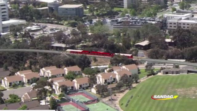 Rendering of the San Diego Trolley in the University City area. Photo credit: SANDAG, via YouTube