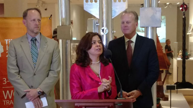 U.S. Consul General William Ostick (left), Mexican Consul General Marcela Celorio and Mayor Kevin Faulconer at the Mingei International Museum. Photo by Chris Jennewein
