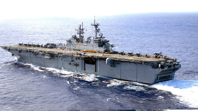 The amphibious assault ship USS Bonhomme Richard. Navy photo