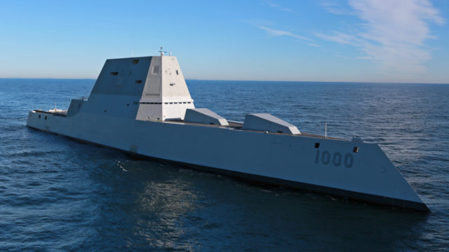 The USS Zumwalt underway during sea tests and trials in the Atlantic Ocean in December. Photo courtesy General Dynamics Bath Iron Works