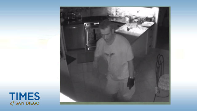 Segment from a surveillance video of a home invasion in Vista. Courtesy SD Sheriff's Dept.