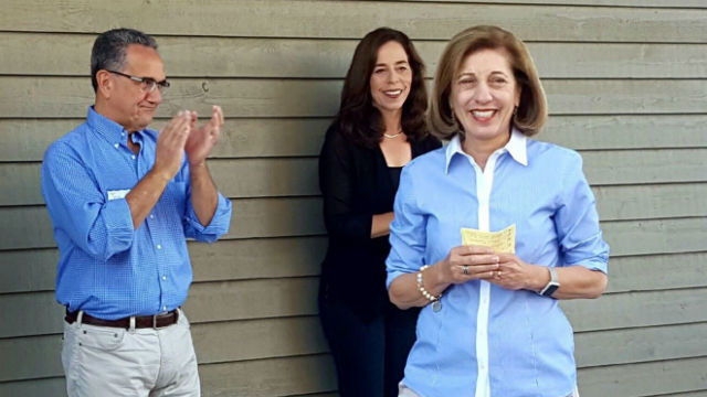Barbara Bry (right) campaigns on Saturday with Mara Elliott and Joe LaCara. Courtesy Bry camaign