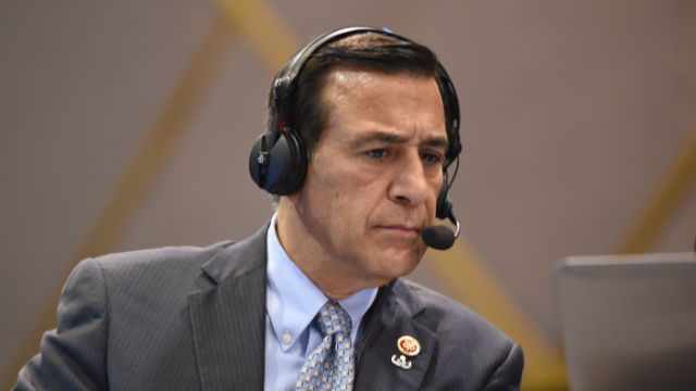 Darrell Issa is interviewed at Election Central in downtown San Diego. Photo by Chris Stone