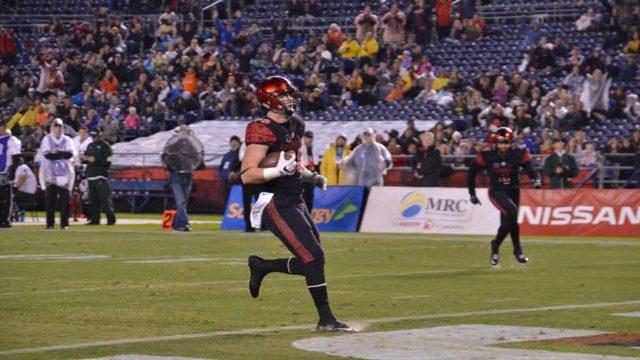 David Wells scores a touchdown for San Diego State. Photo courtesy SDSU Athletics Facebook