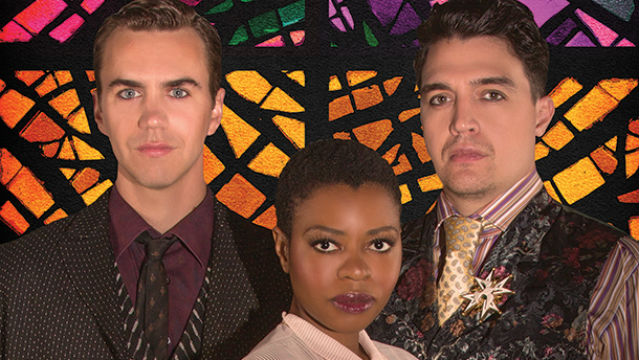 Daniel Petzold (left), Mahka Mthembu, and Christopher Salazar appear in the 2016 Globe for All production of William Shakespeare's Measure for Measure. Photo by Jim Cox