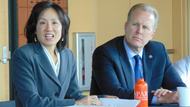 Michelle Lee, director of the U.S.Patent and Trademark Office, and Mayor Kevin Faulconer. Photo by Chris Jennewein