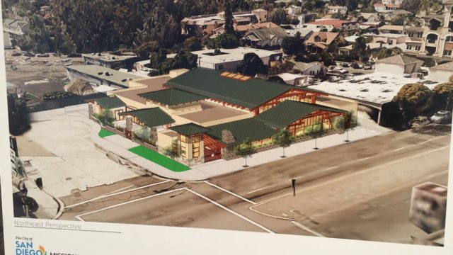 An architectural rendering of the new Mission Hills-Hillcrest Harley and Bessie Knox Branch Library designed by San Diego based Architects Mosher Drew. Image courtesy City of San Diego.