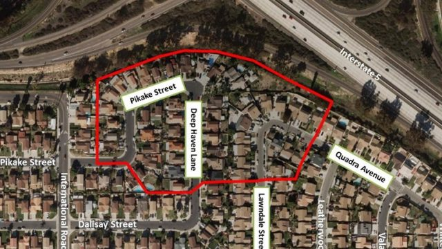 The Nestor neighborhood where the spraying will take place is south of the Interstate 5/State Route 905 interchange and includes residences on Pikake Street, Deep Haven Lane, Lawndale Street and Quadra Avenue. Mao courtesy County of San Diego.
