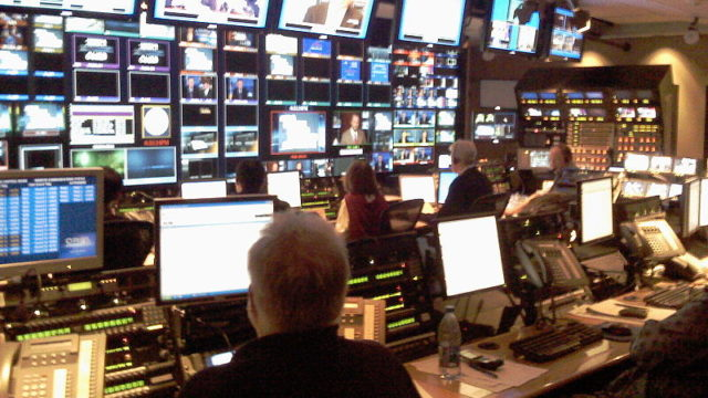 NBC Nightly News control room. Photo by Jeff Maurone via Wikimedia Commons