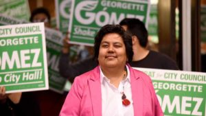 Georgette Gomez arrives at Golden Hall with her District 9 San Diego City Council supporters. Photo by Chris Stone