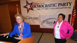 District 9 San Diego City Council candidate Georgette Gómez is introduced to Democrats by county chairwoman Francine Busby. Photo by Ken Stone