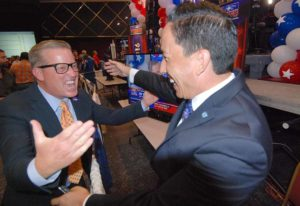 Mark West, who won election to the Imperial Beach City Council, congratulates Todd Gloria (right) on his Assembly victory. Photo by Ken Stone