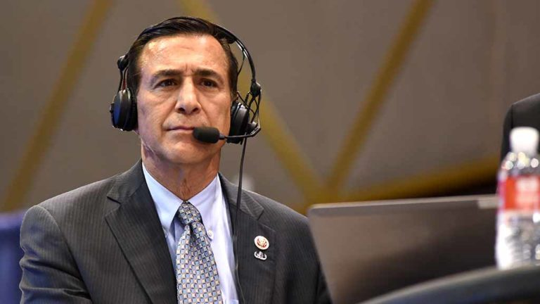 GOP Rep. Darrell Issa, headed to a ninth term in Congress, prepares for an interview at Golden Hall. Photo by Chris Stone