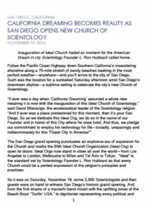 News release on dedication and opening of remodeled San Diego Church of Scientology. (PDF)