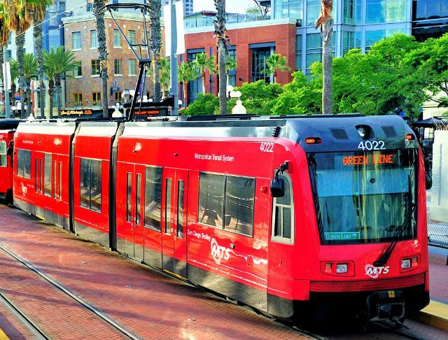 A Siemens S70 trolley in the Gaslamp. Courtesy SDMTS