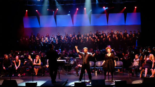 San Diego State University's musical theatre professors and students in a 2014 performance. Courtesy SDSU
