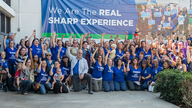 Sharp nurses gather after their strike vote. Photo courtesy United Nurses Associations of California/Union of Health Care Professionals