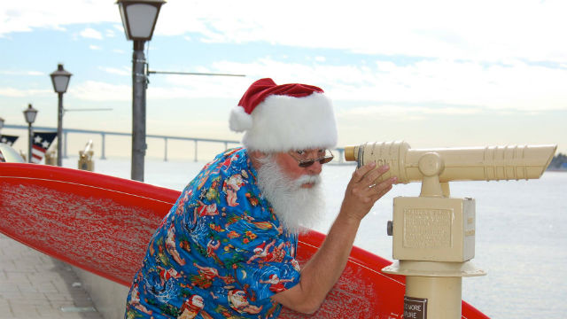 Seaport Village's Surfin' Santa eyes the San Diego waterfront.