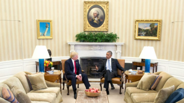 President-election Donald Trump meets with President Barrack Obama on Thursday. Official White House Photo by Pete Souza