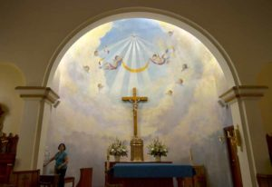 Inside Immaculate Conception Catholic Church before Mass in Old Town San Diego. Photo by Chris Stone