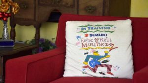 Pillow at Tracy Sundlun's Santee home is souvenir of second Rock 'n' Roll Marathon, whose 20th edition comes in 2017. Photo by Ken Stone