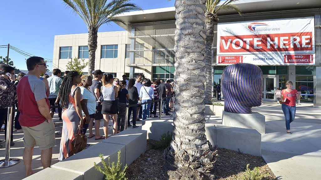 Kearny Mesa headquarters of the county Registrar of Voters Office hosted weekend balloting. Photo by Chris Stone