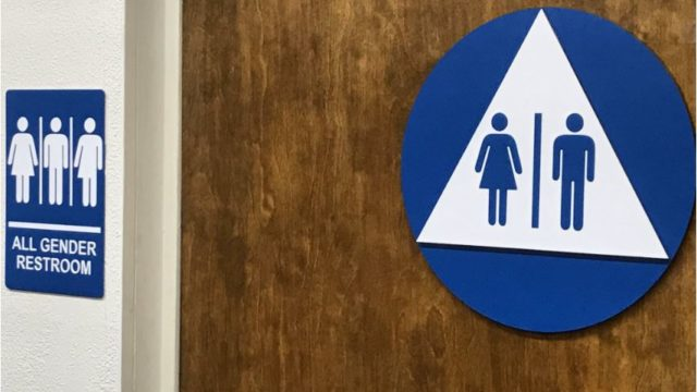 The signs on the new gender-neutral bathroom. Courtesy Todd Gloria Twitter feed