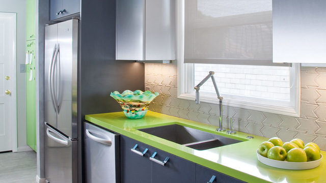 An auto-inspired bachelor's Kitchen. Courtesy Gail Owens Photography, original photo on Houzz