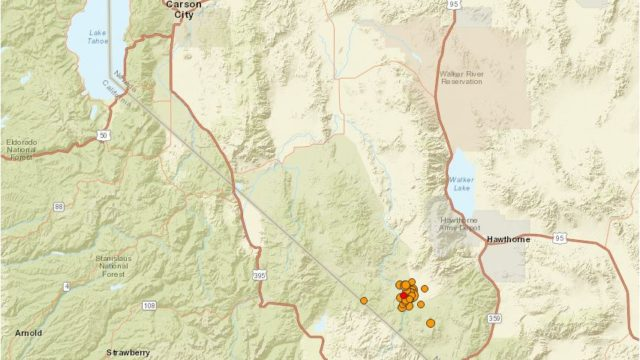 U.S. Geological Survey map shows location of earthquakes southeast of Lake Tahoe.